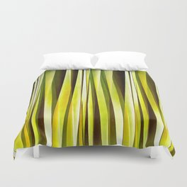 Yellow Ochre and Brown Stripy Lines Pattern Duvet Cover