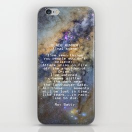 BLADE RUNNER: ...All those ... moments will be lost in time, like tears...in rain...... iPhone Skin