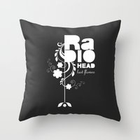 radiohead Throw Pillows featuring Radiohead song - Last flowers illustration white by LilaVert