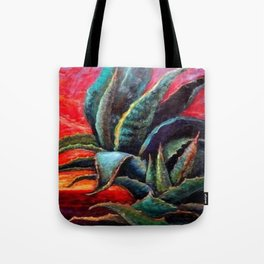 """WESTERN BLUE AGAVE ABSTRACT """"SHIP OF THE DESERT"""" Tote Bag"""