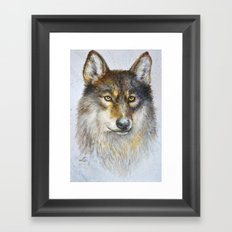 Watercolor wolf Framed Art Print
