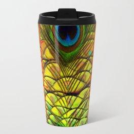 ART DECO RED GOLDEN-GREEN PEACOCK  PATTERN Travel Mug