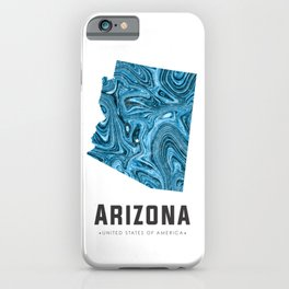 Arizona - State Map Art - Abstract Map - Blue iPhone Case