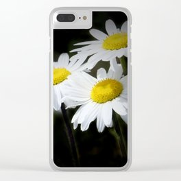 daisies on black Clear iPhone Case