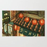 ramen Area & Throw Rugs featuring Ramen in the Alley by Kerri Aitken