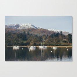 Boats on Lake Windermere at Waterhead. Cumbria, UK. Canvas Print