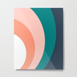 Teal Blush Rainbow Metal Print