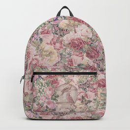 Romantic Flower Pattern And Birdcage Backpack