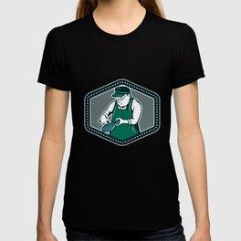 Shoemaker Cobbler Shield Cartoon T-shirt