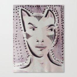 Cat Woman Superhero Cartoon Face Canvas Print