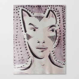 Cat Woman Superhero Cartoon Face Canvas Print