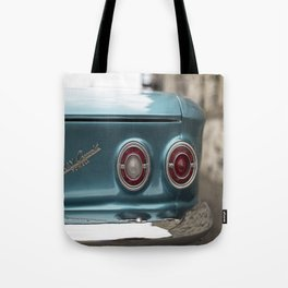 Vintage Chevy Turquoise Blue & Red Tote Bag