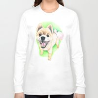 pomeranian Long Sleeve T-shirts featuring Pomeranian dog  - F.I.P. - Jack-Jack by PaperTigress