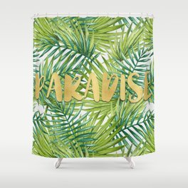 Paradise in Hawaiian Palm Tree Leaves Shower Curtain