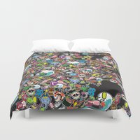 sticker Duvet Covers featuring Sticker Bomb by thickblackoutline