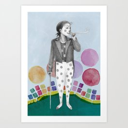 clown and lots of dots Art Print