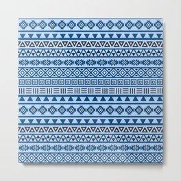 Aztec Influence Pattern II Blues Black White Metal Print