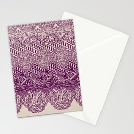 lace border with floral and geo mix in bordeaux Stationery Cards