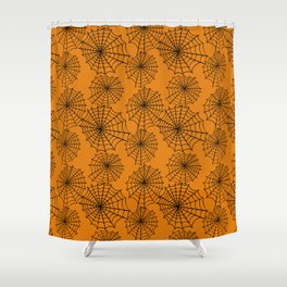 Black orange hand painted halloween spider web pattern Shower Curtain