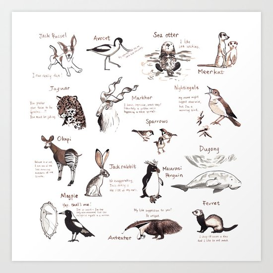 Calendar Animals Art Print