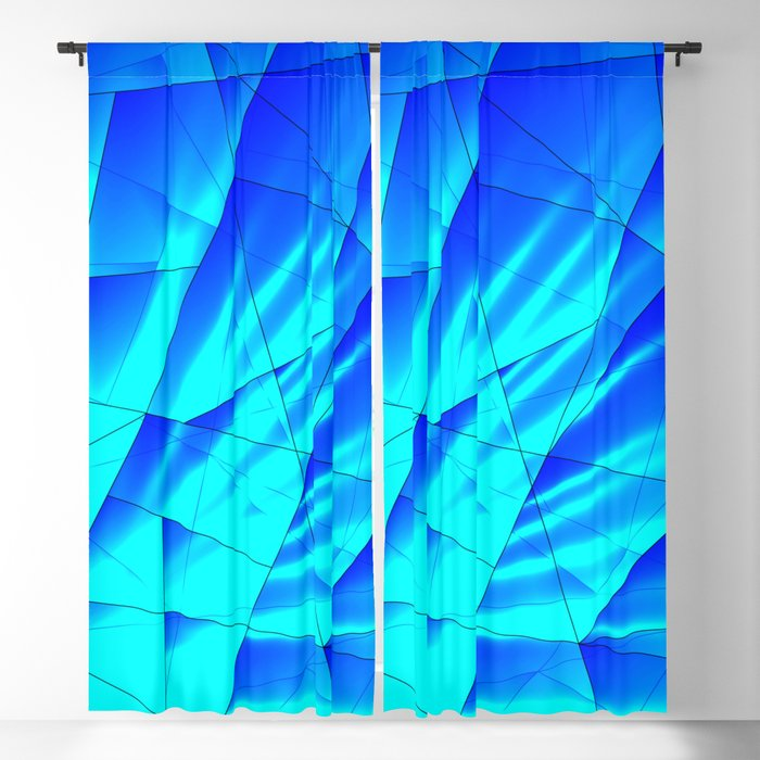 Bright sunshine on celestial and blue triangles of irregular shape. Blackout Curtain