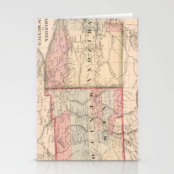 Vintage New Mexico and Arizona Map (1868) Stationery Cards by bravuramedia