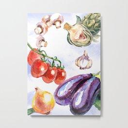 Vegetables in Watercolor Metal Print