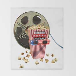 3D Movie Reel and Buttered Popcorn Throw Blanket