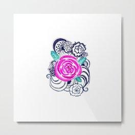 Grunge Pink Acrylic Flowers Metal Print