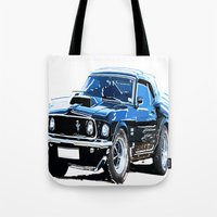 muscle Tote Bags featuring american muscle  by Vector Art