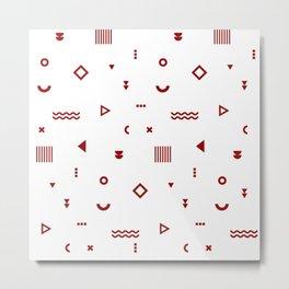 Red  Memphis Pattern Metal Print