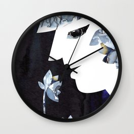 Portrait of a Woman Smelling Flowers Wall Clock