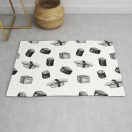 Sushi pattern. Hand-drawn japanese food sushi and rolls on a white background Rug