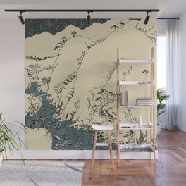 Snowy hills of Kiso in the style of Horoshige Wall Mural