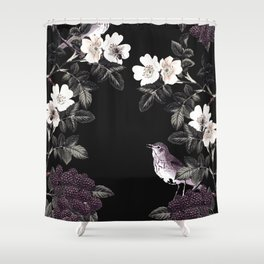 Blackberry Spring Garden Night - Birds and Bees on Black Shower Curtain