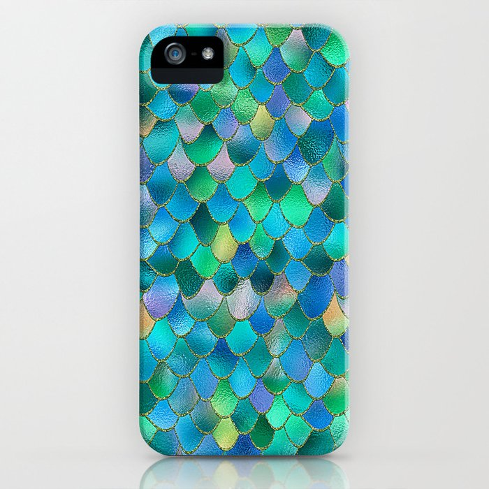 Summer Ocean Metal Mermaid Scales iPhone Case