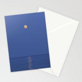 Moonrise at the sea. Blue hour time. Horizontal Stationery Cards