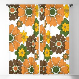 Retro Flowers Blackout Curtain