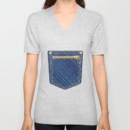 Zipper Pocket Unisex V-Neck