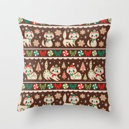 Striped Gingerbread Kitties (Brown) Throw Pillow