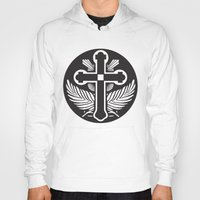 religious Hoodies featuring Black And White Cross Religious Symbol by ArtOnWear