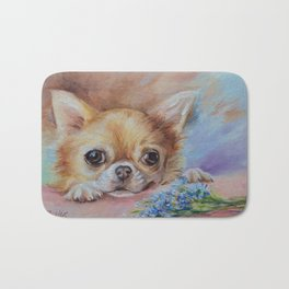 Chihuahua dog portrait with blue flowers Cute pet painting Puppy and nots Bath Mat