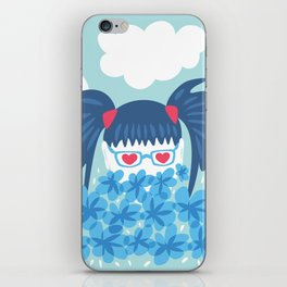 Geek Girl With Heart Shaped Eyes And Blue Flowers iPhone Skin