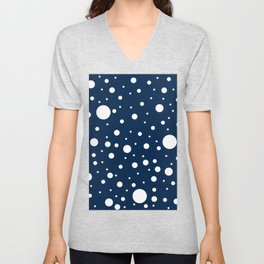 Mixed Polka Dots - White on Oxford Blue Unisex V-Neck