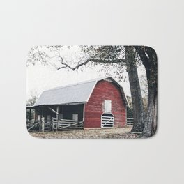Red Barn Autumn Landscape Photography Bath Mat