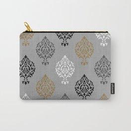 Orna Damask Ptn BW Grays Gold Carry-All Pouch