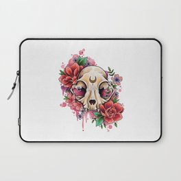 Neo Traditional Cat Skull and Roses Laptop Sleeve