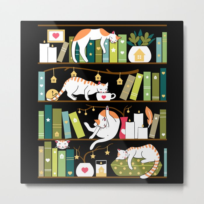 Library cats Metal Print - cat square metal wall art