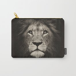 Portrait of a lion king - monochrome photography illustration Carry-All Pouch