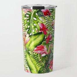 Aloha - Tropical Flamingo Bird and Hibiscus Palm Leaves Garden Travel Mug